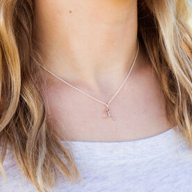 Rose Gold Mini Stick Figure Runner Necklace