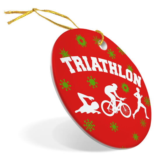 Triathlon Porcelain Ornament Snowflakes