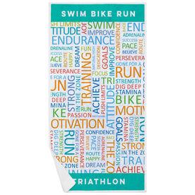 Triathlon Premium Beach Towel - Triathlon Motivation Words