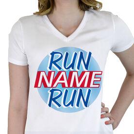Women's Customized White Short Sleeve Tech Tee Run Name Run