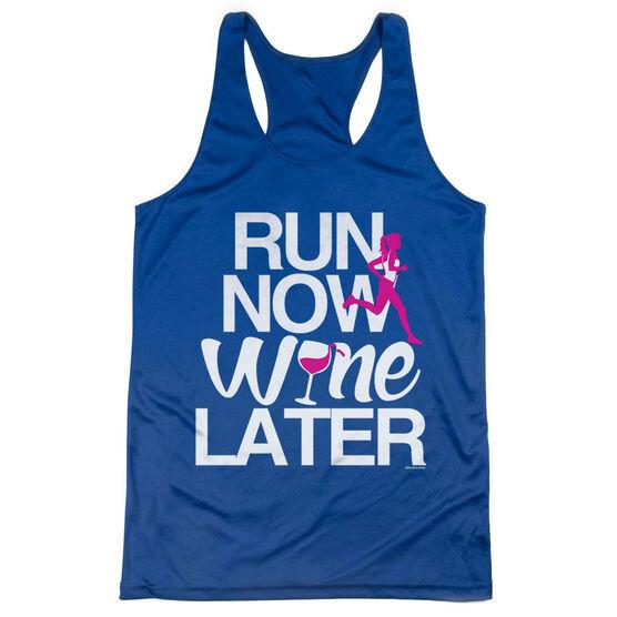 Women's Racerback Performance Tank Top - Run Now Wine Later (Bold)