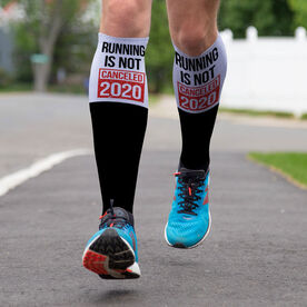 Running Printed Knee-High Socks - Running is Not Canceled 2020