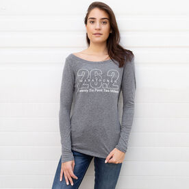 Women's Runner Scoop Neck Long Sleeve Tee - Marathoner 26.2 Miles