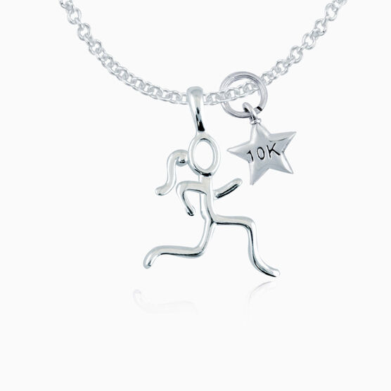 Sterling Silver Stick Figure Runner with Sterling Silver 10K Star Necklace