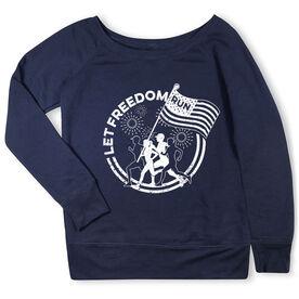 Running Fleece Wide Neck Sweatshirt - Let Freedom Run