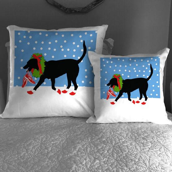 Running Throw Pillow Rex The Running Dog With Christmas