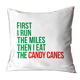 Running Throw Pillow - Then I Eat The Candy Canes