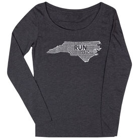 Women's Scoop Neck Long Sleeve Runners Tee North Carolina State Runner