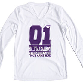 Women's Customized White Long Sleeve Tech Tee 1st Half Marathon