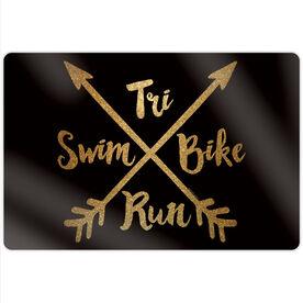 """Triathlon 18"""" X 12"""" Aluminum Room Sign - Crossed Arrows"""