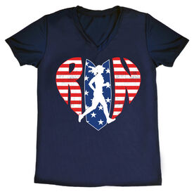 Women's Running Short Sleeve Tech Tee - Patriotic Heart