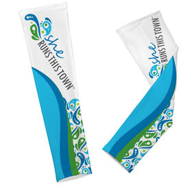 Running Arm Sleeves - She Runs This Town Logo Swirl Pattern