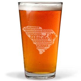 16 oz Beer Pint Glass South Carolina State Runner