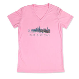 Running Women's Customized Pink Short Sleeve Tech Tee - Chicago Sketch