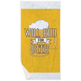 Running Premium Beach Towel - Will Run For Beer