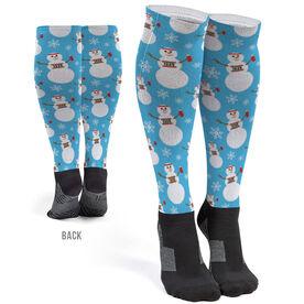 Running Printed Knee-High Socks - Runner Snowman