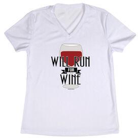 Women's Customized White Short Sleeve Tech Tee Will Run For Wine (Deco)
