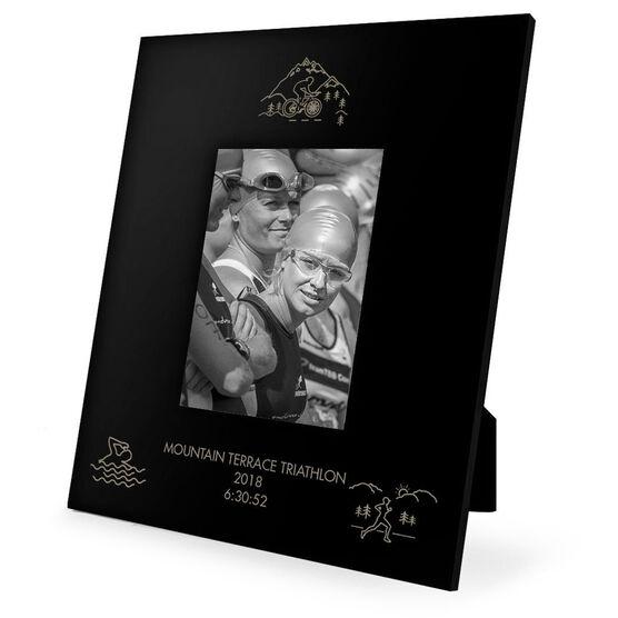 Triathlon Engraved Picture Frame - Swim Bike Run Scenery