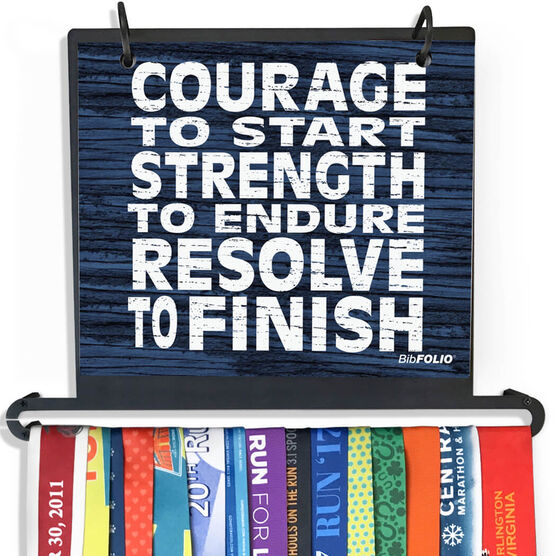 BibFOLIO+™ Race Bib and Medal Display Courage, Strength, Resolve (Rustic)