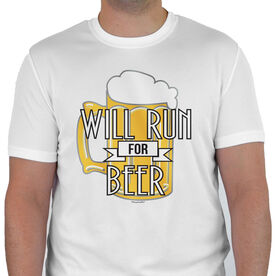 Men's Running Customized Short Sleeve Tech Tee Will Run For Beer (Deco)