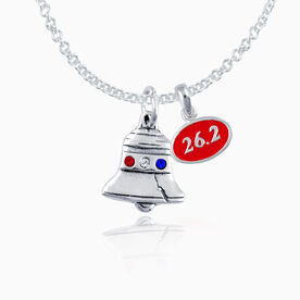26.2 Liberty Bell Necklace w/ Red Enamel 26.2 Charm & Sterling Silver Liberty Bell w/ Crystals Charm