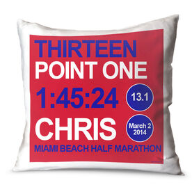 Running Throw Pillow Personalized Thirteen Point One Series