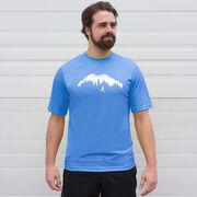 Men's Running Short Sleeve Tech Tee - Trail Runner in the Mountains