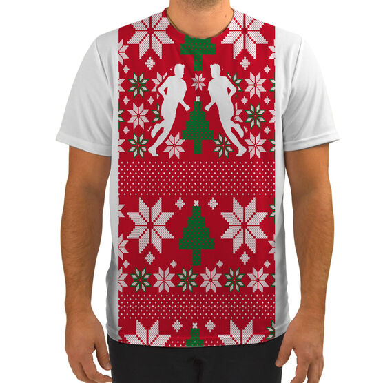 Men's Running Customized Short Sleeve Tech Tee Ugly Sweater Vest