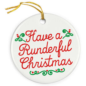Running Porcelain Ornament - Have A Runderful Christmas