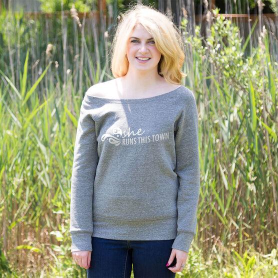 Running Fleece Wide Neck Sweatshirt - She Runs This Town Logo (White)