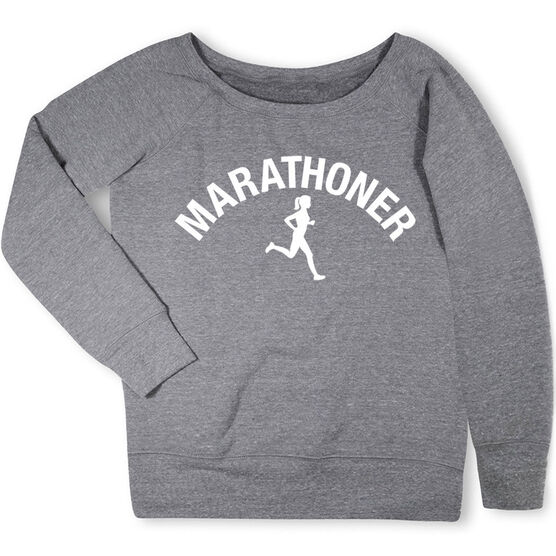 Running Fleece Wide Neck Sweatshirt - Marathoner Girl