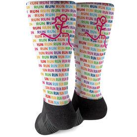 Running Printed Mid-Calf Socks - Run Run Run with Stick Figure