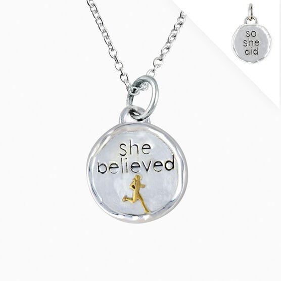 Livia Collection Sterling Silver and 14K Gold Vermeil She Believed Token Necklace