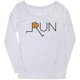 Women's Runner Scoop Neck Long Sleeve Tee - Let's Run For Jack