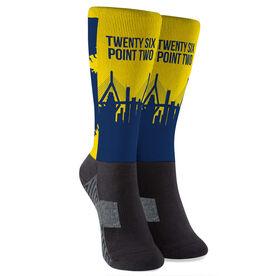 Running Printed Mid-Calf Socks - 26.2 Boston Route