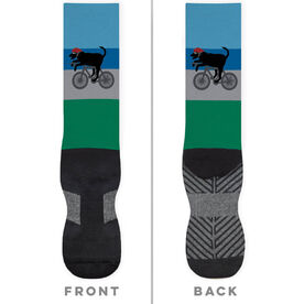 Triathlon Printed Mid-Calf Socks - Toby The Triathlon Dog