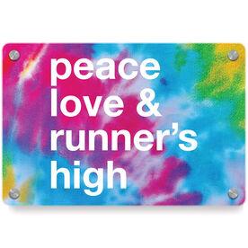 Running Metal Wall Art Panel - Peace Love & Runner's High
