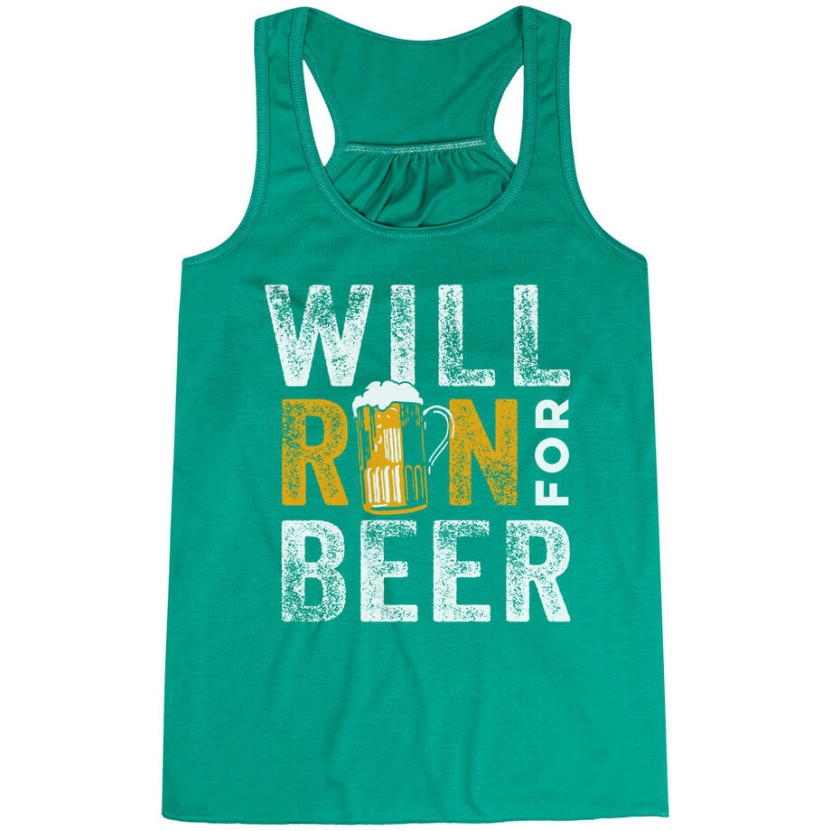 Flowy Racerback Tank Top - Will Run For Beer