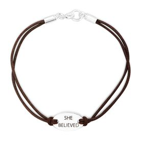 She Believed Sterling Silver Cord Bracelet