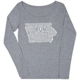 Women's Scoop Neck Long Sleeve Runners Tee Iowa State Runner