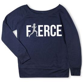 Running Fleece Wide Neck Sweatshirt - Fierce Runner Girl with Silver Glitter