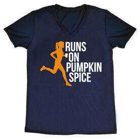 Women's Running Short Sleeve Tech Tee - Runs On Pumpkin Spice
