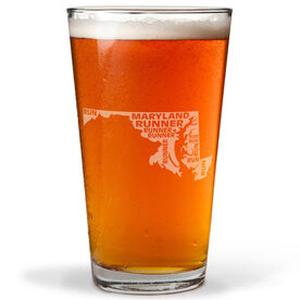 16 oz Beer Pint Glass Maryland State Runner