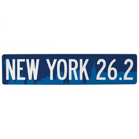"Running Aluminum Room Sign - New York City 26.2 (4""x18"")"