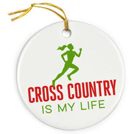 Cross Country Is My Life (Female) Porcelain Ornament