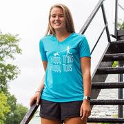Women's Short Sleeve Tech Tee - Happy Trails Happy Tails