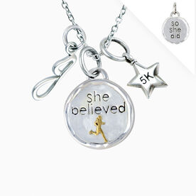 Livia Collection Sterling Silver and 14K Gold Vermeil She Believed 5K Token Necklace