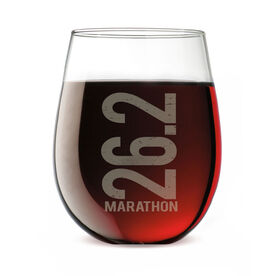 Running Stemless Wine Glass 26.2 Marathon Vertical