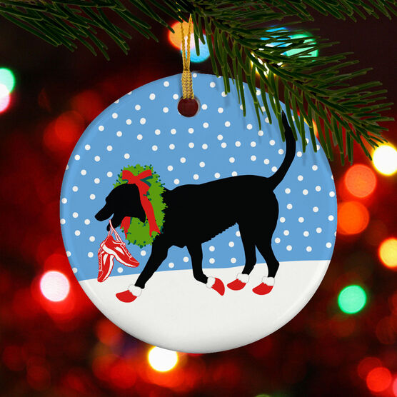Running Porcelain Ornament Rex The Running Dog with Christmas