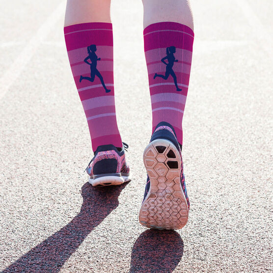 Running Printed Mid-Calf Socks - Runner Girl